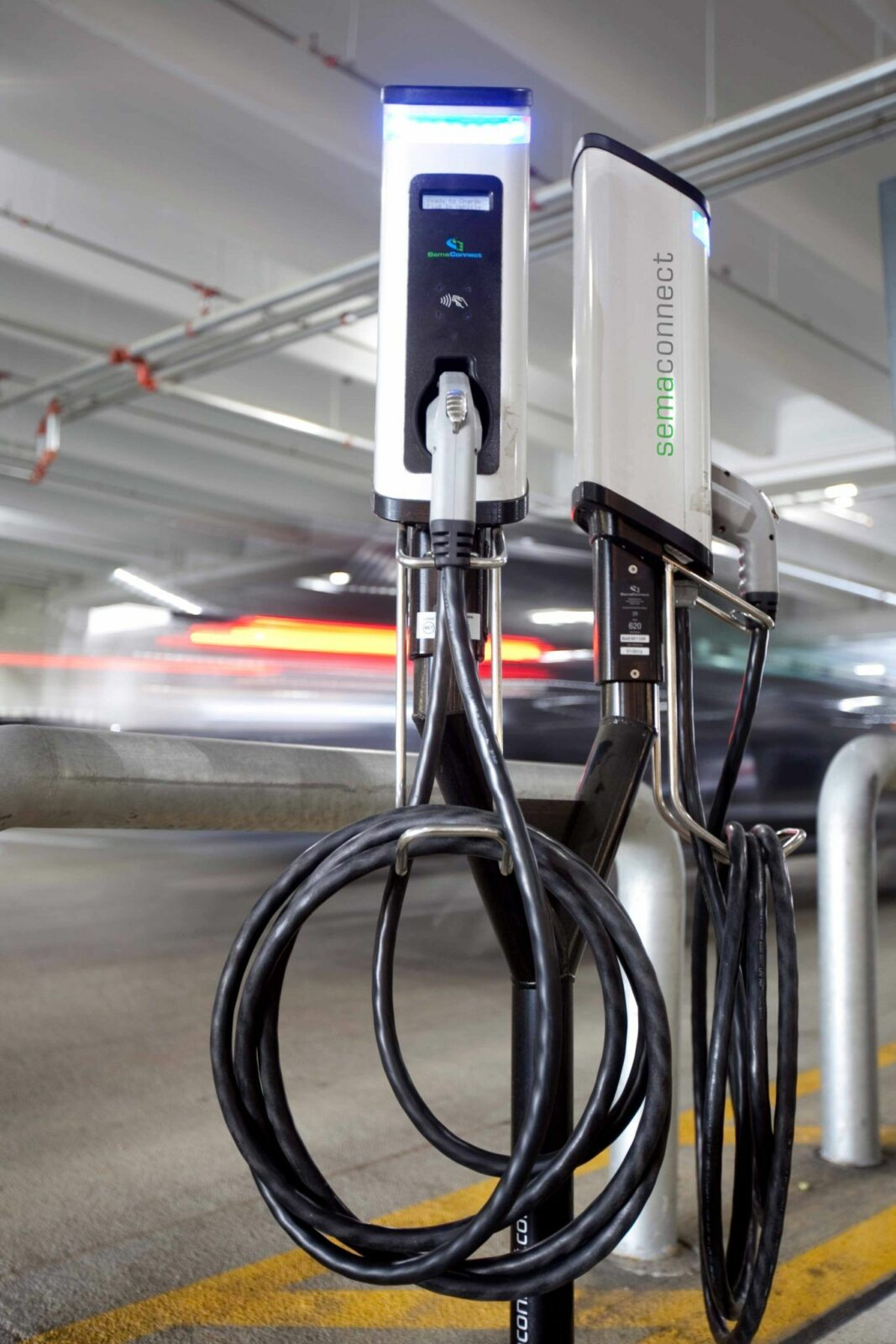 SemaConnect smart EV charging stations on dual pedestal