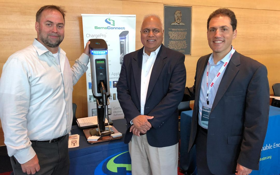 CEO Mahi Reddy with Head of Public Programs Josh Cohen and SemaConnect Sales Manager Eric Smith