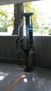 SemaConnect Series 6 smart EV charging stations on dual pedestal with cable management system located at 420 East South Temple, Salt Lake City, Utah