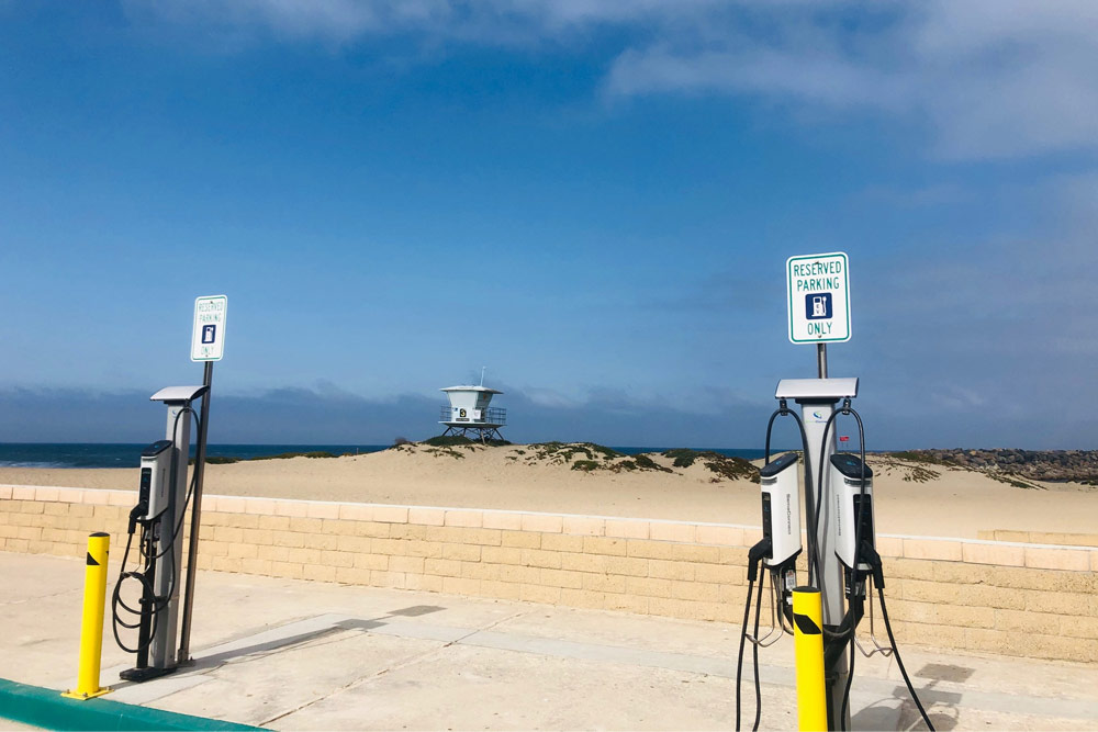 SemaConnect Series 6 EV charging stations on pedestals with CMS at Ventura Harbor Cove Beach